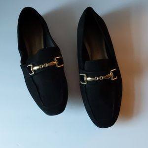 Christian Siriano black faux suede loafers Sz 10